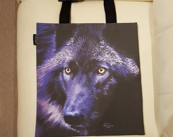 Wolf in Moonlight tote bag - wolf design tote bag, wolf leisure bag, wolf shopping bag