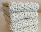 Sale, Ivory Dishcloths, free shipping,  Set of 4 cotton dish cloths, Cream or off White, dish scrubber,  eco friendly,  dishrag,