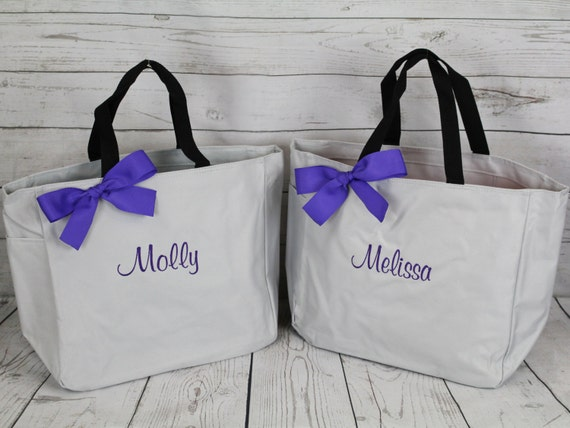 11 Personalized Bridesmaid Tote Bags, Bridesmaid Gift, Personalized Bridesmaid Tote, Wedding Party Gift, Name Tote