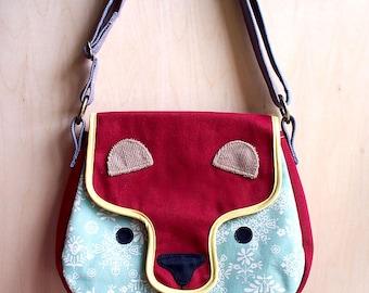 Bear Sling Bag, Bear Crossbody Bag, Bear Purse, Forest Bear Bag, Bear Shoulder Bag, Cute Sling Bag, Fabric Sling- Winter Forest fabric print
