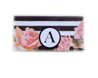 Personalized Checkbook cover - Romantic Roses Stripe -  custom check book holder - black and white stripes - pink roses floral - monogram