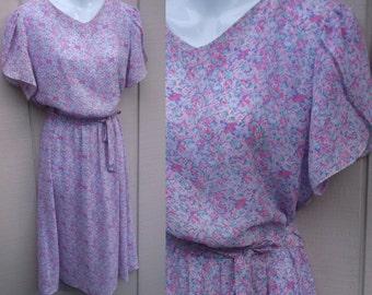 Vintage 80s semi sheer Floral SECRETARY DRESS // Ladies sz Sml - Med