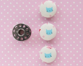 Blue Kitty Fabric Covered Buttons 3/4 Inch