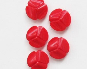 Cherry Red Vintage Flower Buttons 3/4 Inch | 5 Plastic Sewing Buttons 19mm