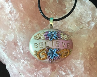 Believe - Pastel One Word Floral Pendant