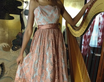 Vintage Chocolate Brown Lace Dress