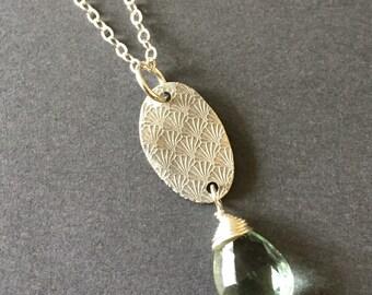 Shoreline, Fluorite, Fine Silver, Sterling Silver Gemstone Charm Necklace