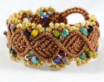 Micro-Macrame Beaded Cuff Bracelet - Brown and Multicolored