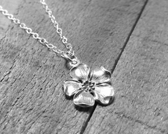 Cherry Blossom necklace flower charm pendant sterling silver .925 floral focal spring jewelry