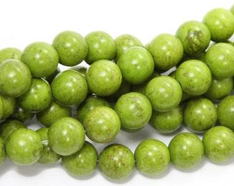 Green Howlite Round Gemstone Beads
