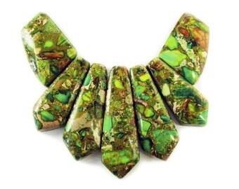 Green Imperial Jasper Stick Collar Pendant Gemstone Beads