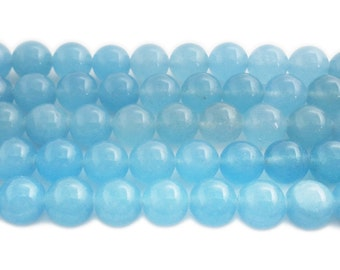Sky Blue Jade Round Gemstone Beads