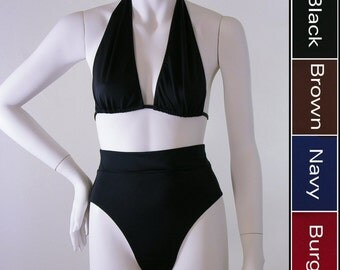 80s High Waist High Leg Bikini Swimsuit Bottom and Marilyn Halter Top in Black, Brown, Navy Blue or Burgundy in S-M-L-XL