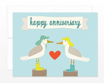 Happy Anniversary Card - Sea Gulls in Rain Boots Greeting Card - Card for Wife, Card for Husband, Romantic, Cute, Funny Anniversary Card