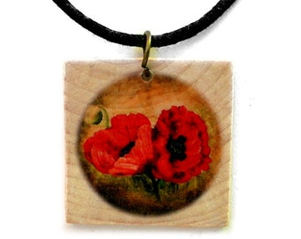 Red Poppies Pendant Wood Flowers Handmade Jewelry Necklace