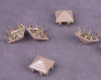 Beige Metal Pyramid Studs - 8mm - 25 Pieces (MS8BNPD-25)