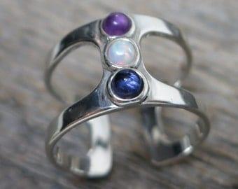 Saraesa ring ... cast sterling silver / openwork / opal, amethyst, sapphire / adjustable ring size 6