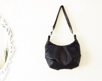 Geometric Black Leather Small Tote Shoulder Bag