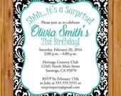 Black White Party Damask Surprise Birthday Party Invitation Teal 21st 30th Milestone Women's 5x7 Digital JPG Printable (417)