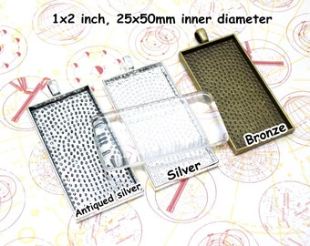 5 pcs domino pendant tray, 25x50 rectangle bezel, glaze frame, antiqued silver bezel, silver domino setting, bronze jewelry setting