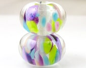 Enchanted Encased Artisan Lampwork Beads Earring Pair 10mmx15mm - Handmade Lampwork Glass - Green, Purple, Encased - SRA (Pair of 2 Beads)