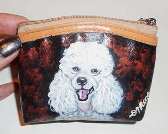White Poodle Dog Hand Painted Leather Coin Purse  Pouch