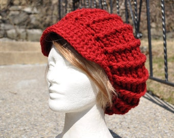 Crocheted Hat Women - Red Hat - Crocheted Newsboy Hat with Brim - Winter Accessories