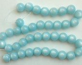 18 Inch Strand Pale Blue Lucite Moonglow Beads