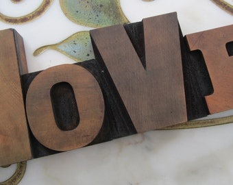 Letterpress Wood Type Printers Blocks Love