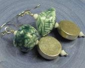 Assymetric teal ceramic dangle earrings