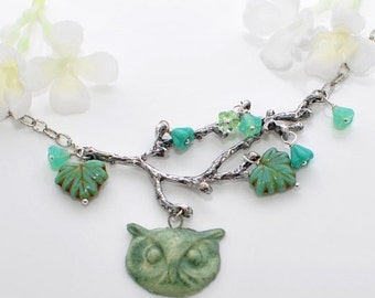 Owl in the Trees Pendant Necklace - Hoot Owl Jewelry - Owl Necklace - Bird Jewelry