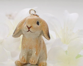 Tan Lop Rabbit Bunny Necklace Wesley the Wise Lop - Bunny Jewelry - Rabbit Necklace