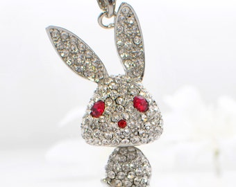 Crystal Bunny Jewelry Rabbit Pendant Necklace Puttin' on the Glitz - Rabbit Necklace - Bunny Pendant - Bunny Rabbit Jewelry - Pet Rabbit