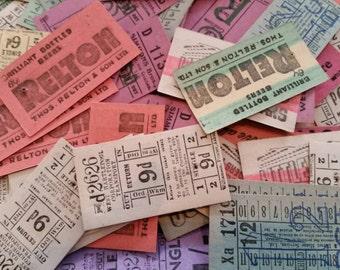 Vintage UK tickets, assemblage,  collage ephemera vintage collectable 20 tickets