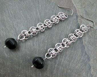 Chainmaille Earrings - Barrel Weave - Black Gemstone - Long Dangle Earrings - Chainmaille Jewelry - Chainmail Earrings
