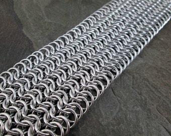Chainmaille Bracelet - European 6-1 - Bright Aluminum Chainmail - Chainmail Cuff - Chainmaille Jewelry - Cuff Bracelet - Chain Mail Bracelet