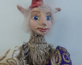 """PELE- OOAK - ELF, Polymer Clay- 9"""" (23 cm) Tall, Hanging Doll, Art Doll, Sculpture, Michelle Munzone, Jester, Christmas"""