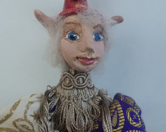 "NINO- One Of A Kind - ELF, Polymer Clay- 9"" (23 cm) Tall, Hanging Doll, Art Doll, Sculpture, Michelle Munzone, Jester, Christmas, signed"