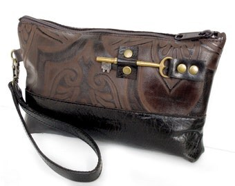 Brown Leather Zipper Pouch Wristlet with Antique Skeleton Key - Embossed Damask Leather Wristlet - MADE TO ORDER