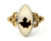 Antique Art Deco Picture Agate Ring Dendritic Moss Agate Ring Two Toned Sterling Silver and 10K Yellow Gold Ribbon Bows Size 10 Circa 1930s