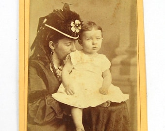 Antique Victorian Loving Mother CDV Photograph Fashionable Lady with Infant Child Circa 1880