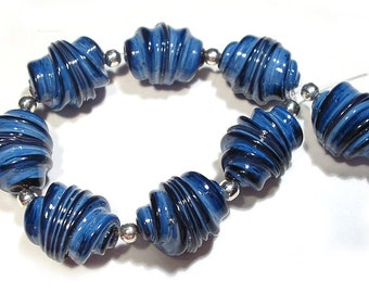 Mountain Blue Whirled Lampwork Beads