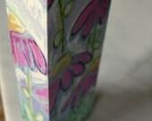 floral, garden, flowers, painting, mixed media, original, coneflower