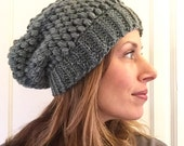 Ombre slouch hat in shades of hreen gray and lavender crochet ready to ship