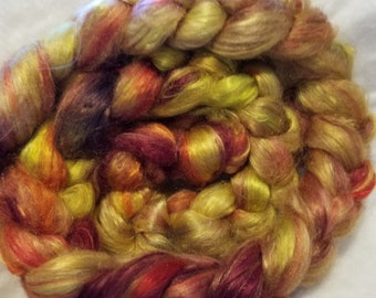 CRAZY Handpainted Silk Mulberry Bombyx Roving 100 percent brick A1 combed top SIZZLING