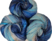 Voyager - classic batts -- (4 oz. per set) hand-dyed organic polwarth wool, bamboo, yak, silk, silver holographic sparkle.