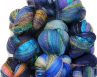 The Upside-Down -- mini batts (2 oz.) organic polwarth wool, bamboo, sparkle, etc.