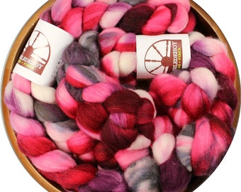 Cherry Ice - hand-dyed Merino wool and silk (4 oz.) painted combed top