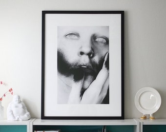 If I Only Could Giclee Print FREE SHIPPING 16x24 Black White Surreal Photography Creepy Image Dark Art Portrait Face Eyes Spraypaint Poster