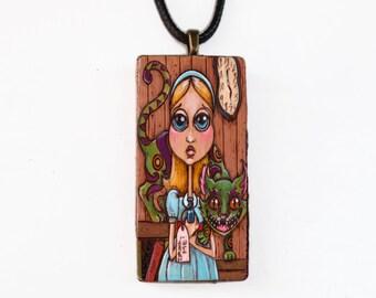 Alice in Wonderland Art - Ceramic Pendant - Wearable Art Necklace -Tile Pendant - Alice Jewelry Pendant - Dancing Kelpie Studio - Boho